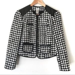 Cache Wool Blend Black And White Blazer Size 2